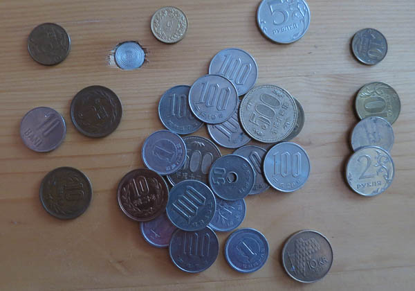 Kleingeld, Wechselgeld, Yen, Rubel, Schweizer Franken,