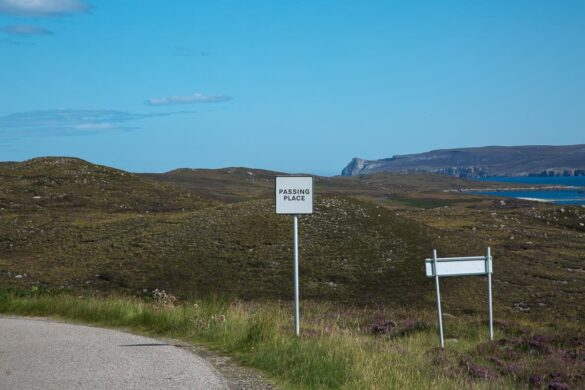 Schottland Single Track Road Passing Place