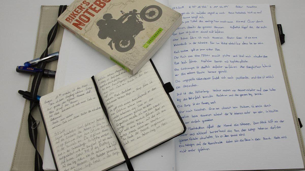 mein Notizbuch zum Motorrad- Reisen